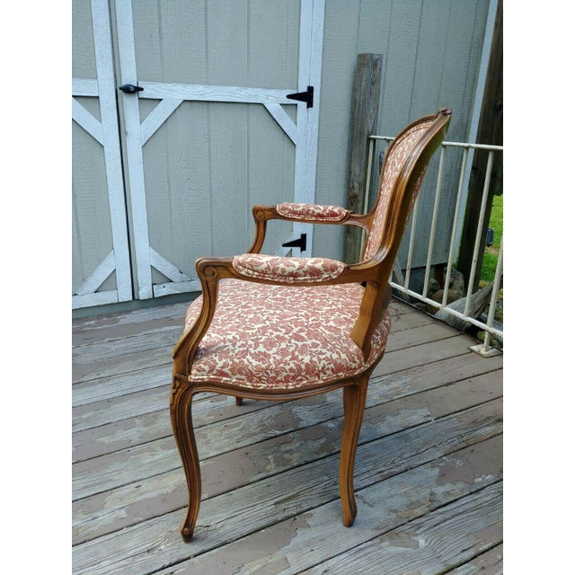 French Vintage Louis XV French Carved Fruitwood Hardwood Arm Side Chair With Jacquard Upholstery For Sale - Image 3 of 13