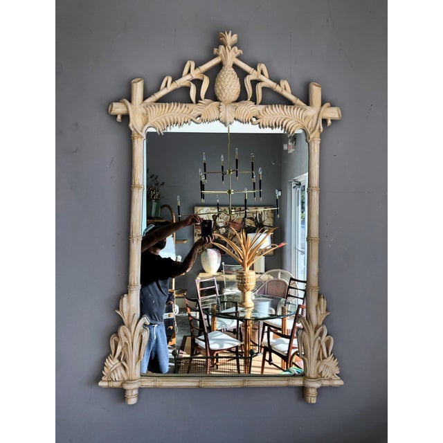 Gampel-Stoll Hollywood Regency Lacquered Pineapple Faux Bamboo Wall Mirror For Sale - Image 13 of 13