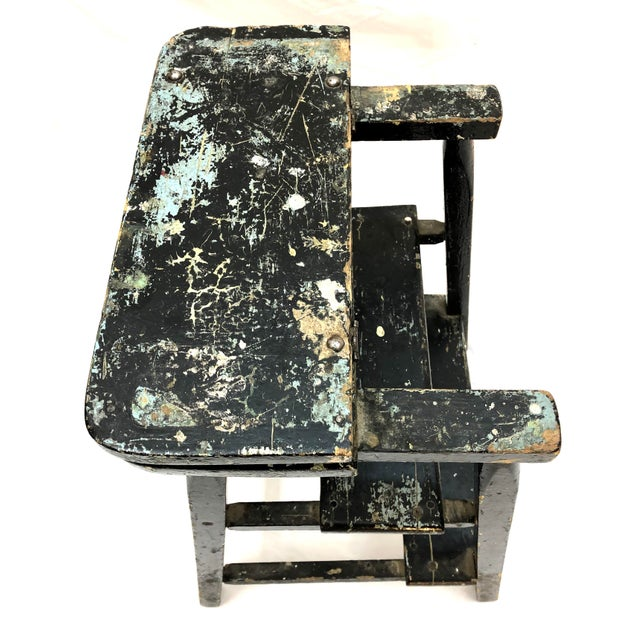 Mid 20th Century Vintage Shabby Boho Chic Splatter Paint Step Stool For Sale - Image 5 of 10