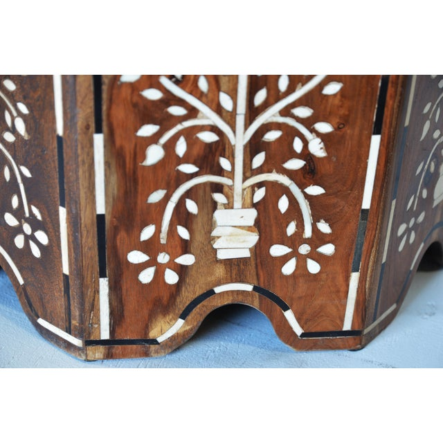 Anglo-Indian Moroccan Bone and Wood Inlay Side Table For Sale - Image 3 of 5