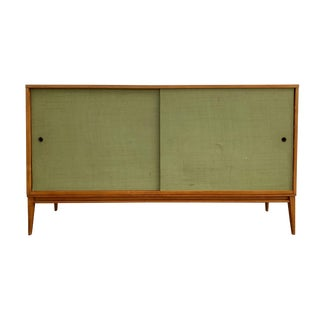 Paul McCobb Credenza With Grasscloth Cabinet Planner Group For Sale