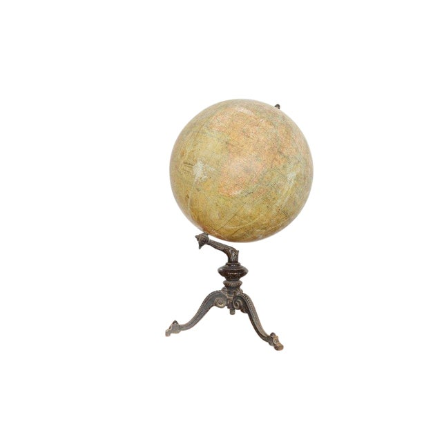 Early 20th C French Antique Globe Terreste With Cast Iron Base For Sale