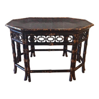 Vintage Maitland Smith Bamboo Tortoise Shell Coffee Table