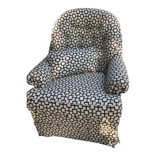 Geometric Pattern Upholstered Rocking Chair - Image 1 of 6