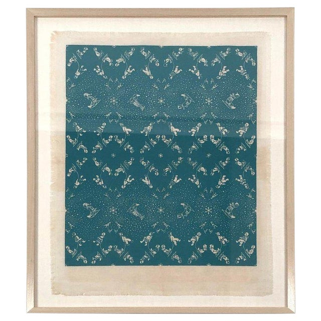 Folly Cove Designers Snow Flurry Hand Block Print For Sale