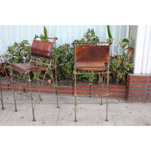 1970s Vintage Leather and Metal High Barstools- Set of 3 For Sale In Los Angeles - Image 6 of 13