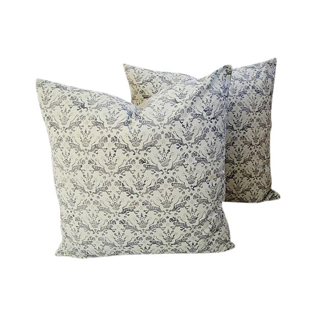 Custom Tailored Brunschwig & Fils Royal Imperial Feather/Down Pillows - A Pair For Sale