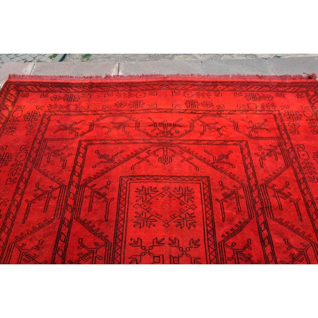 Turkish Hand-Knotted Red Overdyed Rug - 8′5″ X 11′8″ For Sale - Image 5 of 9