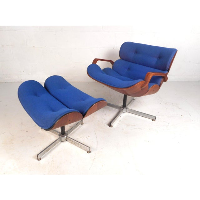 Vintage Modern Eames Style Swivel Lounge Chair and Ottoman For Sale - Image 13 of 13