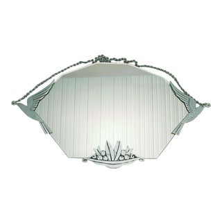 Vintage French Art Deco Bird and Flower Wall Mirror For Sale