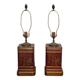 Pair Vintage Oriental Asian Chinoiserie Tin Table Lamps by Frederick Cooper For Sale