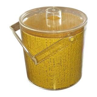 Mid Century Modern Georges Briard Yellow Jute Embedded Lucite Ice Bucket