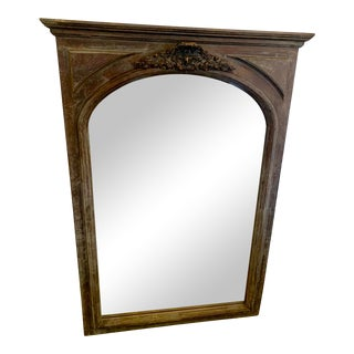 Carved Grey Painted Mirror With Subtle Undertones For Sale