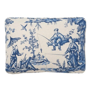"""Chinoiserie Schumacher 26"""" Double-Sided Pillow in Shengyou Toile Print For Sale"""