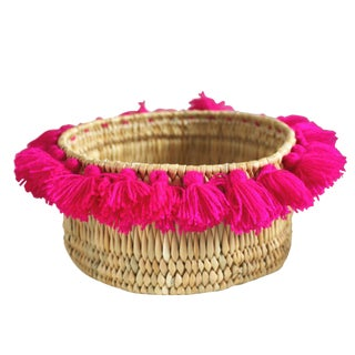 Moroccan Fuchsia Tassel Small Basket For Sale
