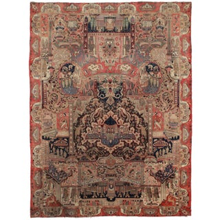 "RugsinDallas Vintage Persian Kashan Rug - 9'7"" X 12'7"" For Sale"