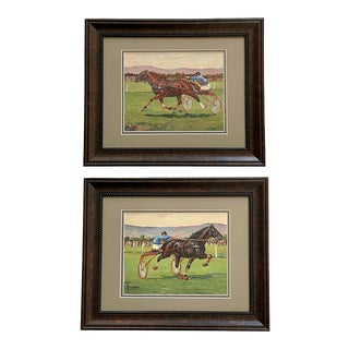 Early 20th Century French Harness Racing Paintings For Sale