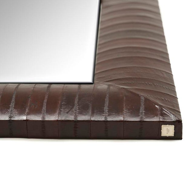 Contemporary Contemporary Genuine Brown Eel Skin Framed Mirror For Sale - Image 3 of 4