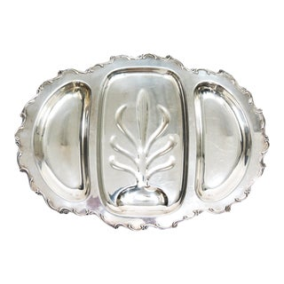 Vintage Wilcox & Webster Footed Silver Meat and Trimmings Serving Platter For Sale