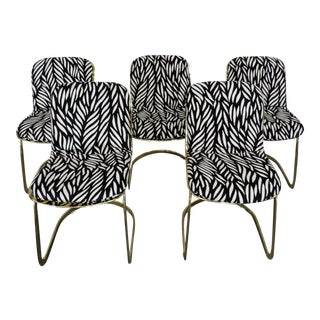 Italian Brass Willy Rizzo Dining Chairs - Set of 5 For Sale