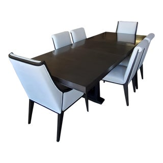 1945 Henredon Collection Paladino Graphite Oak Pedestal Dining Table Set - Set of 7 For Sale