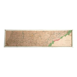 Vintage Framed Mid-Century Tennessee Map
