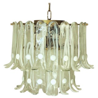Pale Green Murano Glass With White Dots Petals Chandelier by Mazzega For Sale