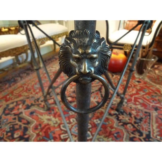 1970s Italian Neoclassical Style Steel and Bronze Center Table After Giacometti For Sale - Image 5 of 13
