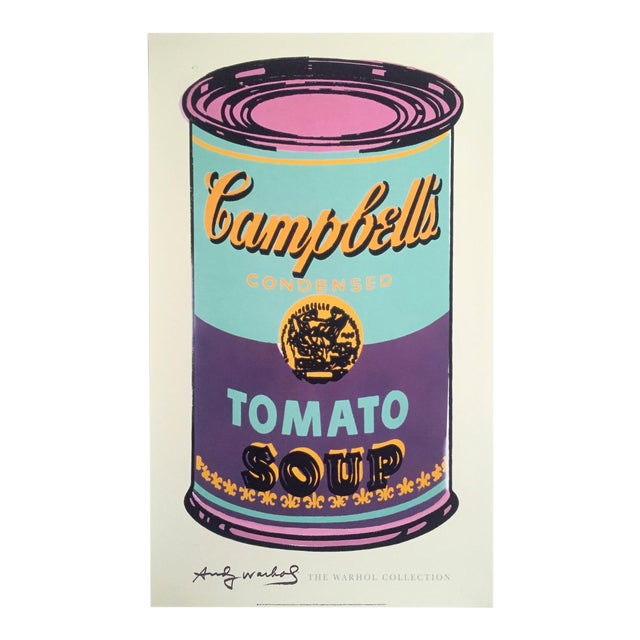 "Andy Warhol Foundation Lithograph Print Pop Art Poster "" Campbell's Soup Can "" 1965 For Sale"