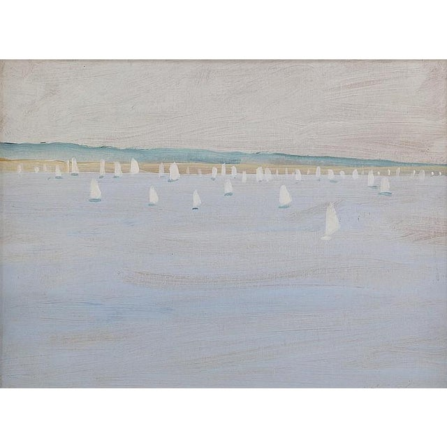 SHIPS IN HARBOR, by American, Louis Lehtonen, a Port Jefferson artist. Oil on Cardboard.