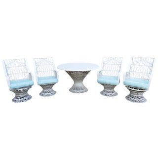 Kravet Upholstered Russell Woodard Spun Fiberglass Patio Dining Set For Sale