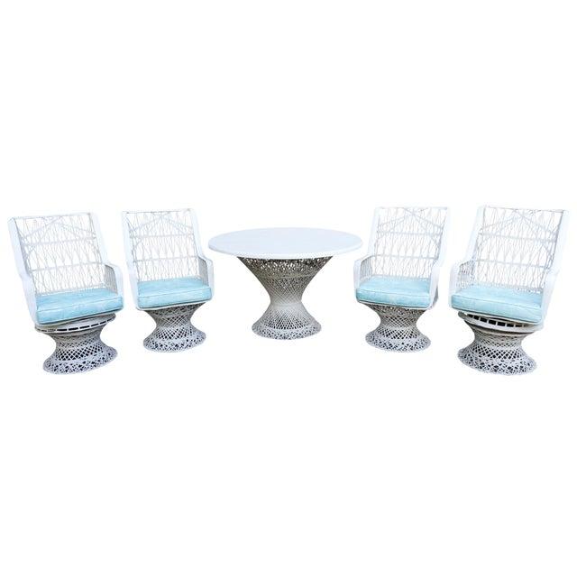 Kravet Upholstered Russell Woodard Spun Fiberglass Patio Dining Set For Sale