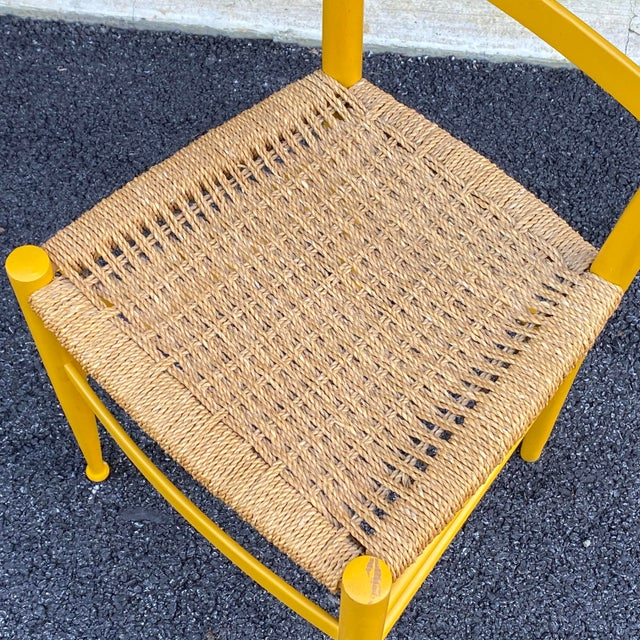 Mid-Century Modern Woven Rope Gio Ponti Style Side Chair For Sale - Image 3 of 12