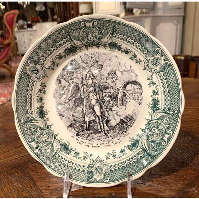 Dark Green 19th Century French Painted Napoleonic Sarreguemines Ceramic Plates-Set of 9 For Sale - Image 8 of 13