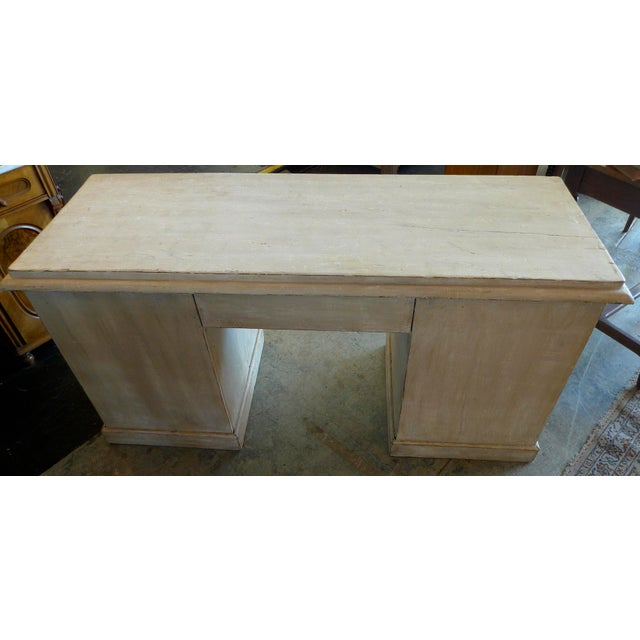 White 19th Century English XIX Painted Knee-Hole Partner Desk For Sale - Image 8 of 12