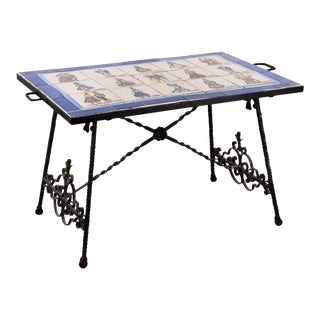 Spanish Tile Top Wrought Iron Occasional Table For Sale