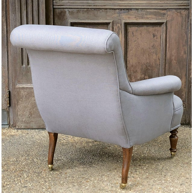 Linen Upholstery French Scroll-Back Armchair For Sale - Image 4 of 13