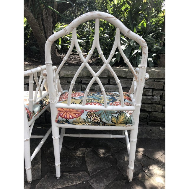 Bamboo Chinese Chippendale Faux Bamboo Arm Chairs - Set of 4 For Sale - Image 7 of 11