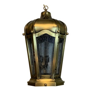 1990s Hand Crafted Solid Brass Hanging Lantern For Sale