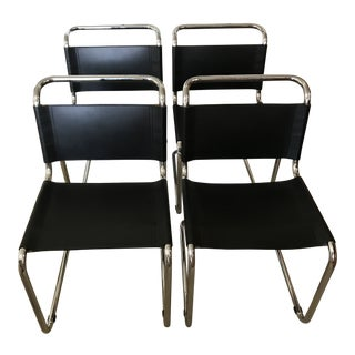 Mid-Century Modern Breuer Black Spoleto Leather and Cantilevered Tubular Chrome Chairs- Set of 4 For Sale