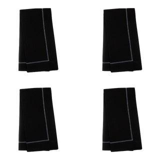 Black Linen Dinner Napkins with White Hemstitch - Set of 4 For Sale