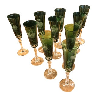 Vintage Etched Green Glass Champagne Flutes -Set of 10 For Sale