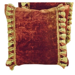 Late 19th Century Antique Madder Red Velvet With Tassel Trim Pillow For Sale