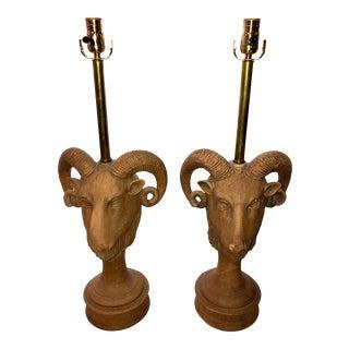 Vintage Italian Terra Cotta Ram Head Lamps - a Pair