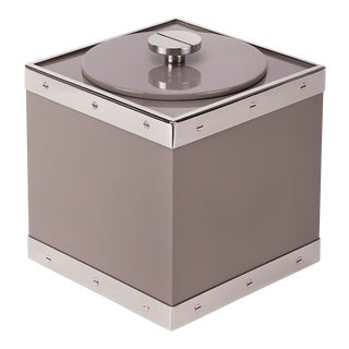 Flair Home Collection Edge Ice Bucket in Taupe / Nickel For Sale