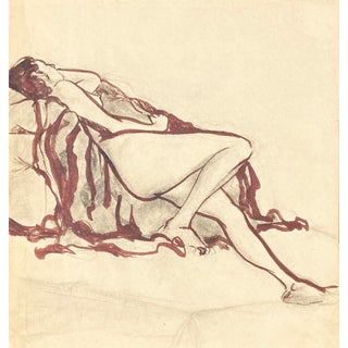 'Reclining Nude' by Michael Decker, 1970s For Sale