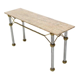 Mid Century Modern Solid Brass Rope Marble Top Console Table For Sale