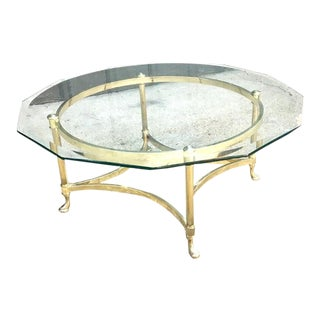 La Barge Brass Camel-Foot Coffee Table For Sale