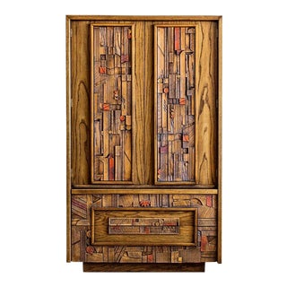 Lane 'Pueblo' Brutalist Armoire After Paul Evans For Sale