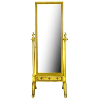 Gilt Wood Neoclassical Full Length Cheval Floor Mirror For Sale